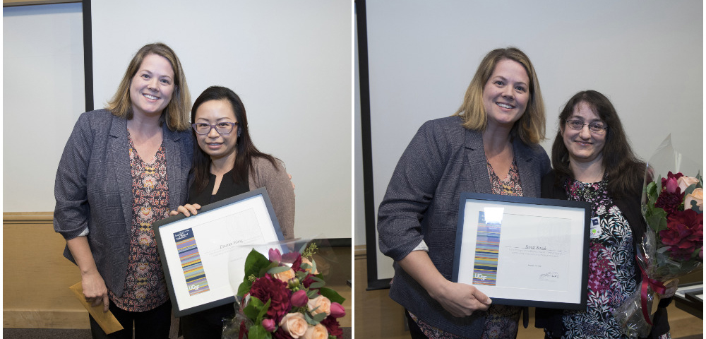 Stacy Sawtelle, MD presents the Boyden Award to Dawnee Wong and Sandi Borok
