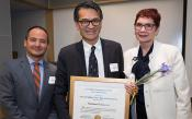 Left to Right: Brian Lin, MD, Chair of VCP Advisory Board; Laurence Yee, MD, recipient of Charlotte Baer Memorial Award 2019; and Catherine Lucey, MD, Executive Vice Dean for Education. Photo by Elisabeth Fall