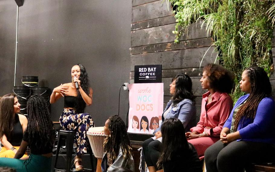 Inaugural live podcast recording of Woke WOC Docs in Oakland September 27, 2019.